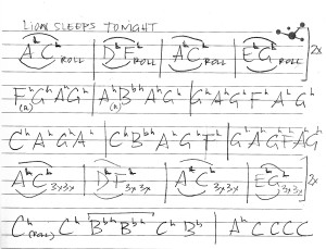 "4.3 Tenor steel pan notation for ""The Lion Sleeps Tonight"""